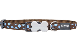 Red Dingo Dog/Puppy Collar Blue Spots On Brown