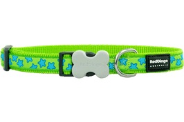 Red Dingo Dog/Puppy Collar Turquoise Stars On Lime Green