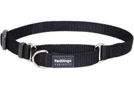 Red Dingo Martingale Dog Collar Plain Black