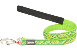 Red Dingo Dog Lead Flanno Lime Green