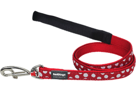 Red Dingo Dog Lead White Spots On Red