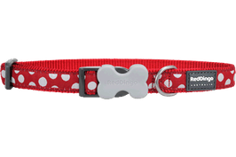 Red Dingo Dog/Puppy Collar White Spots On Red