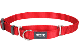 Red Dingo Martingale Dog Collar Plain Red
