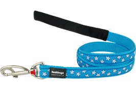 Red Dingo Dog Lead White Stars On Turquoise
