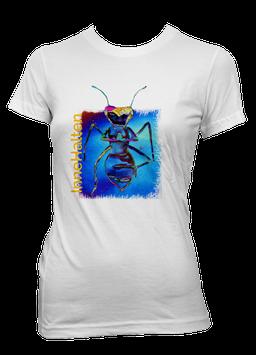 T-Shirt Damen weiß / kurzarm tailiert