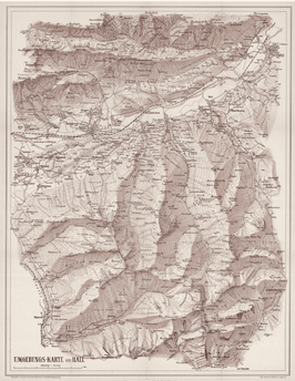 TuXer Alpen-Karte,           auf Kappaplatte aufgezogen