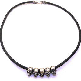 THE FIVE SKULL IN SOLID SILVER 925 WITH LEATHER CABLE AND KNOT IN SOLID SILVER 925