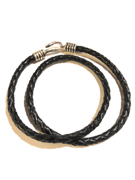 BRAIDED LEATHER BRACELET - DARK BROWN