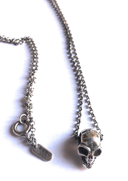 BAD SKULL NECKLACE MOD. JOHNNY DEPP IN SOLID SILVER 925.