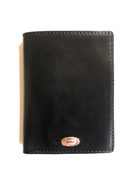 LEATHER BLACK WALLET 9 POCKETS WITH 925 SILVER LOGO