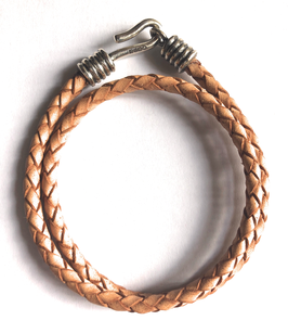 BRAIDED LEATHER BRACELET - NATURAL