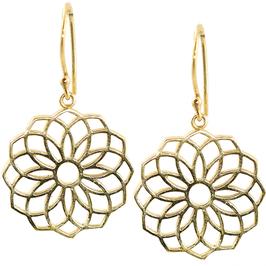 Boucle d'oreilles Semence de Vie Mandala - laiton dorée