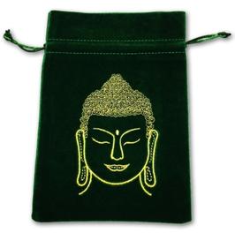 Pochette / bourse sac pour cartes Tarot - BOUDDHA - vert -brodé