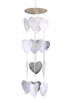 Carillon  - Feng Shui - Mobile petits cœurs blancs coquillage capiz