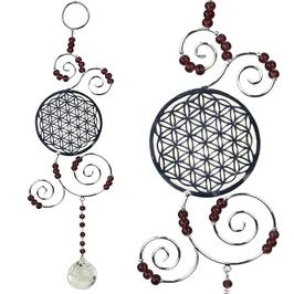Feng Shui - Fleur de vie - laiton argenté et boule crystal - perles verre