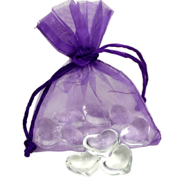 Coeurs blancs dans le sac d'organza mauve - qty 10