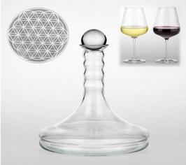Rubellum carafe à vin 1L nombre d'or fleur de vie nature's design
