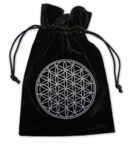 Pochette / bourse sac pour cartes Tarot - Fleur de Vie - brodée - noire
