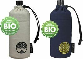 EMIL Glas-Trinkflasche / BLAU mit Lebensblume + NATUR mit Lebensbaum