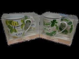 Tazza/Tisaniera con filtro, in scatola regalo - Motivo Erbe officinali