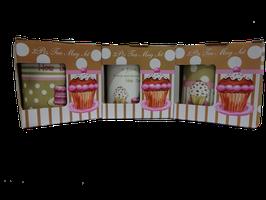 Tazza/Tisaniera con filtro, in scatola regalo - Motivo Cup Cake