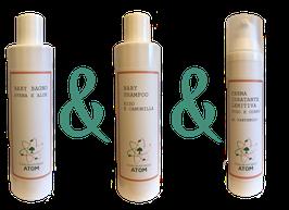 Linea Baby: Crema Idratante + Baby Bagno + Baby Shampoo