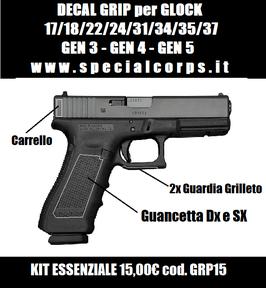 DECAL GRIP per Glock 17 GEN 3/4/5 (Nastro grippante adesivo)