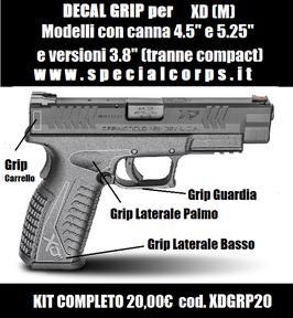 "Decal Grip HS Xd(M) 4.5""/5.25""  e versioni con canna da 3.8"" (Tranne compact) cod. XDGRP20"