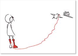 A bird, MsSlow & her socks