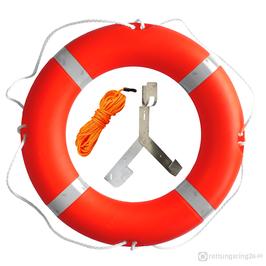Rettungsring mit Halterung & Leine 75 cm 2,5 kg Orange SOLAS