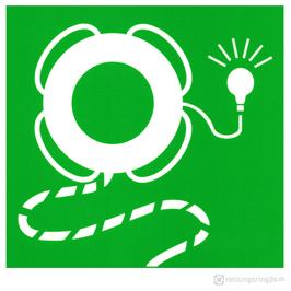 IMO-Aufkleber Lifebuoy with line and light - Rettungsring mit Leine und Licht