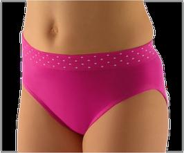 Mädchen Slip aus Bambus Viskose, nahtlose Verarbeitung, Gr. 122/128 (M), weiß, pink, Serie Dots