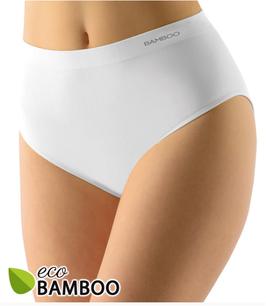 Serie ECO, Damen Bambus Taillenslip mit schmalem Bund, weiß, schwarz, Gr. L/XL