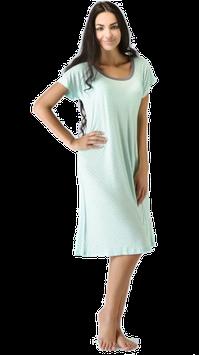 Sleepshirt, Serie Mini Dots, Damen Nachtwäsche, Kurzarm, in mint-silbergrau aus Bambus Viskose, Gr.XXL