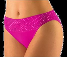 Damen Bambus Slip mit hohem Beinausschnitt, Serie Dots, schwarz, weiß, rot-pink, Gr. S/M