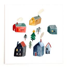 Gretas Schwester | Quadratische Postkarte | Christmas Village