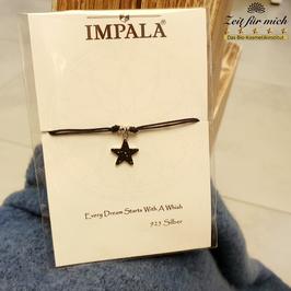 Verstellbares Armband mit schwarz glitzerndem Sternanhänger