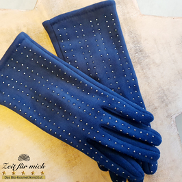 Handschuhe blau mit Steinen
