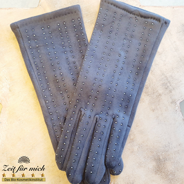 Handschuhe grau mit Steinen