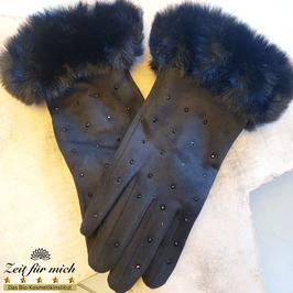 Handschuhe schwarz mit Fellrand und Steinchen