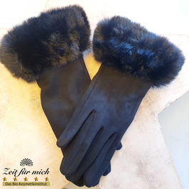 Handschuhe schwarz mit Fellrand