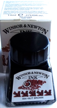 WINSOR AND NEWTON INK - NUT BROWN 14ml