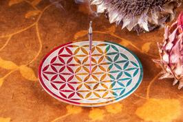 Specksteinhalter Blume des Lebens, bunt; inkl. Räucherstäbchen