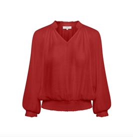 AliceCR Bluse, gesmokte Bündchen, rotbraun