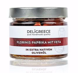 Florinis Paprika mit Feta gefüllt, in extra nativem Olivenöl