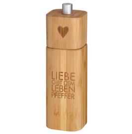 """Pfeffermühle """"Liebe gibt dem Leben Pfeffer"""", Bambus"""