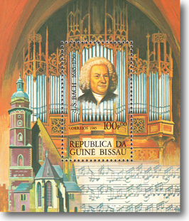 Miniature Stamp Sheet from Guinea Bissau: The 300th Birthday of Johann Sebastian Bach, 1985