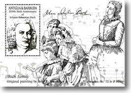 Miniature sheet (stamp) from Antigua + Barbuda for the 300th Birthday of Johann Sebastian Bach, 1985