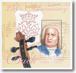 Miniature Stamp Sheet from Sierra Leone: The 250th day of death of Johann Sebastian Bach, 2000