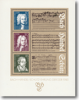 Miniature Stamp Sheet from the former GDR, Grenadines:  Bach-Händel-Schütz-Award of the GDR, 1985
